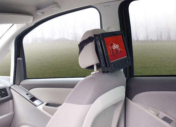 Lecteur DVD portable : sacoche avec système de fixation pour appui-tête