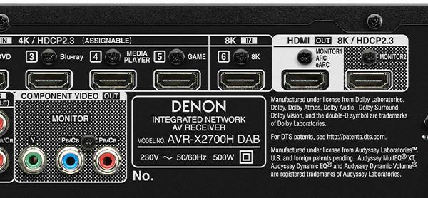 Denon AVR-X2700H DAB : HDMI compatible 8K