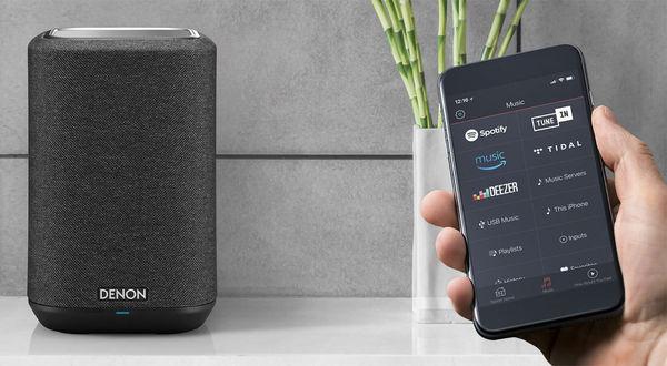 Vue de l'application Heos permettant de lire les services musicaux de streaming sur l'enceinte Denon Home 150