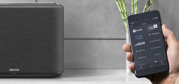 Vue de l'application Heos permettant de lire les services musicaux de streaming sur l'enceinte Denon Home 350