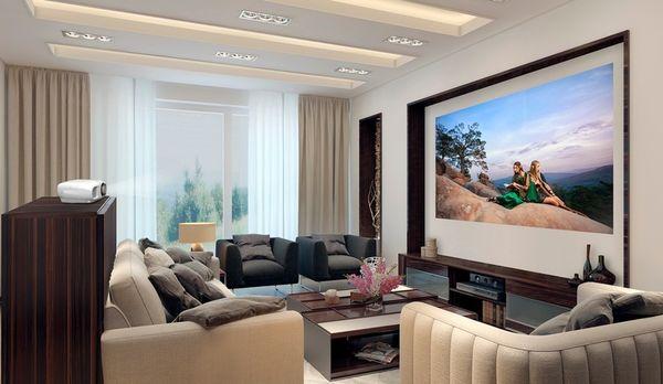 Le vidéoprojecteur 4K de la marque Epson EH-TW7000 utilisé dans un salon.