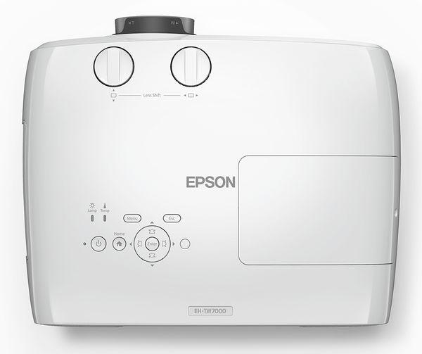 Le vidéoprojecteur 4K de la marque Epson EH-TW7000 vu du dessus.