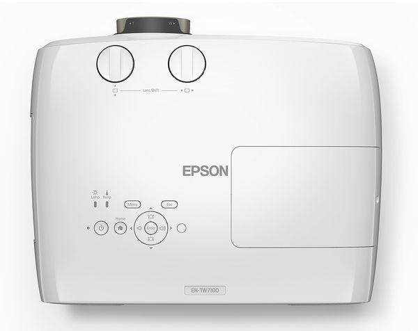 Le vidéoprojecteur 4K de la marque Epson EH-TW7100 vu du dessus.