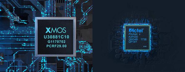 XMOS-chip og FGPA-chip monteret på FiiO M15-afspilleren