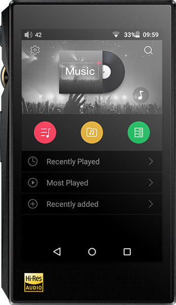 Android-interface på FiiO X5s