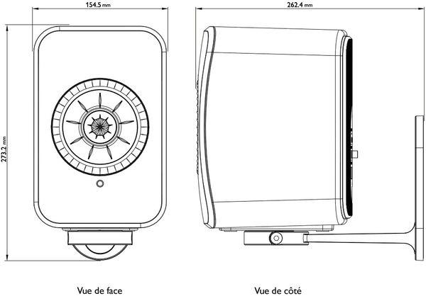 vues dimensions schéma KEF B1 pour LSX Wireless
