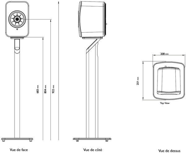 vues dimensions schéma KEF P1 pour LSX Wireless