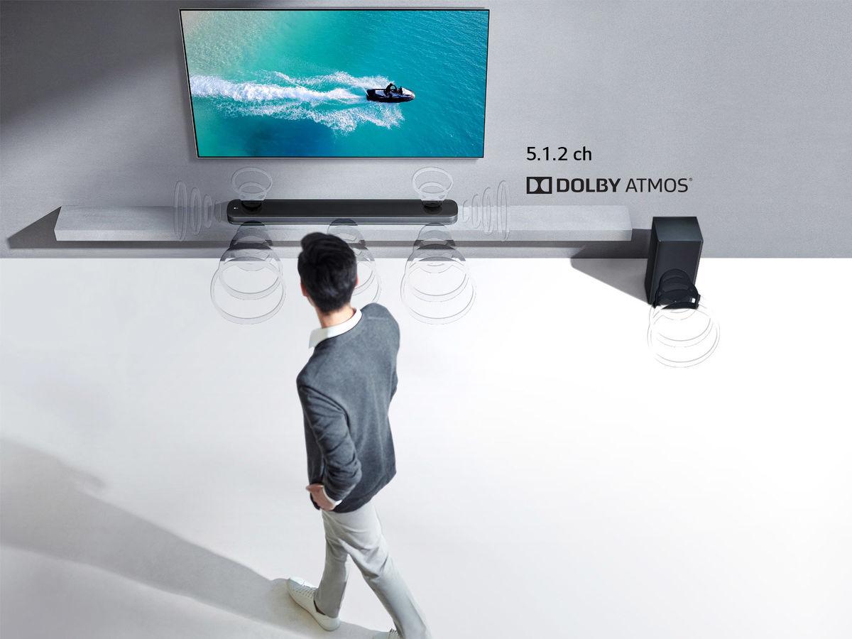La barre de son LG SK9Y est un modèle Dolby Atmos 5.1.2 canaux accompagnée  d un caisson de basses sans fil. b8df0676f19