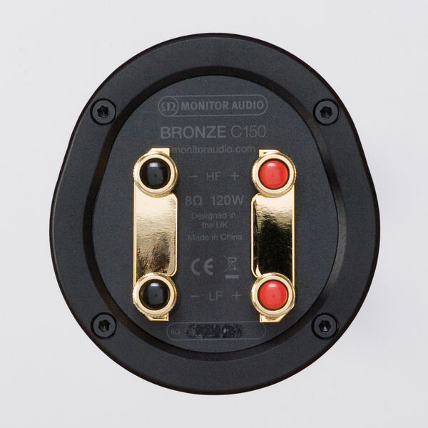 Monitor Audio Bronze C150 : borniers plaqués or compatibles bi-câblage et bi-amplification