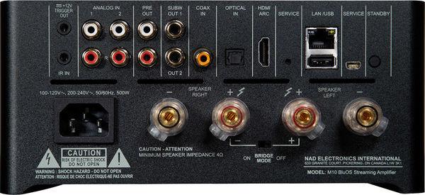 NAD M10 : la connectique