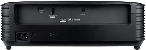 La connectique du vidéoprojecteur Optoma HD28e comprend une entrée HDMI, un port USB alimenté et une sortie audio mini-jack