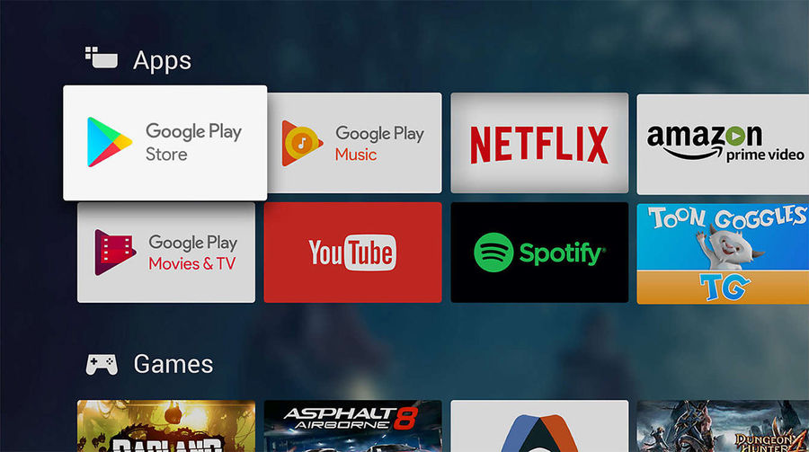 TV connectée Android TV : catalogue d'application Google Play Store