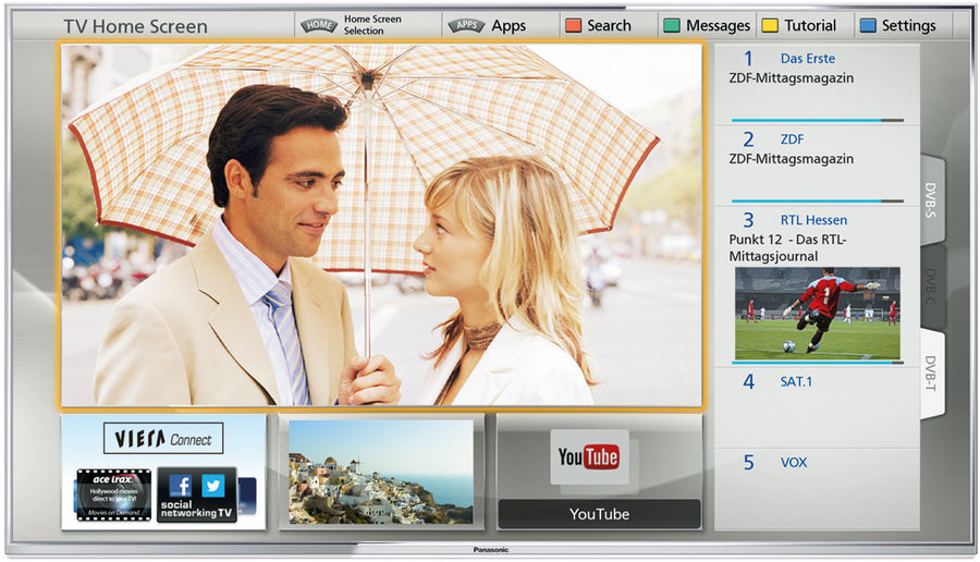 TV connectée Panasonic : interface My Home Screen première génération