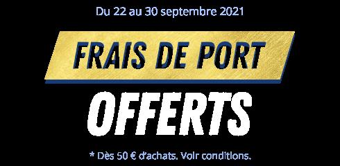 Du 22 au 30 septembre 2021. Frais de port offerts dès 50 € d'achats. Voir conditions.