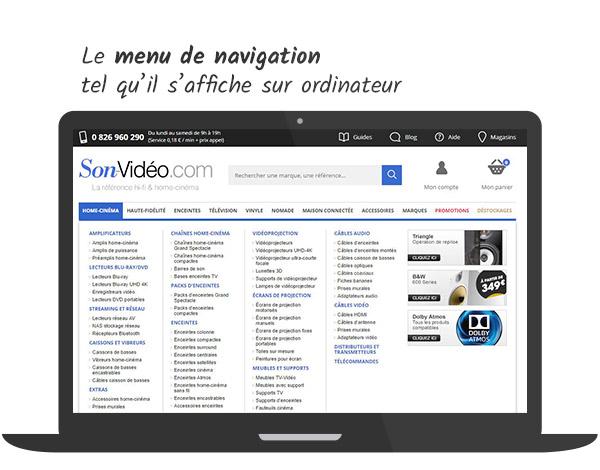 Le menu de navigation tel qu'il s'affiche sur un ordinateur de bureau