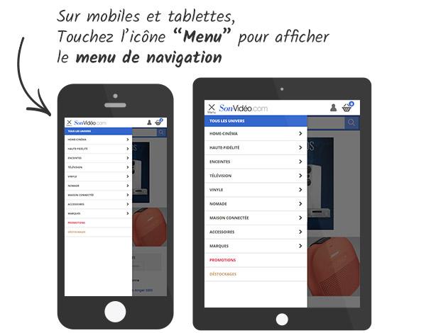 Le menu de navigation tel qu'il s'affiche sur portables