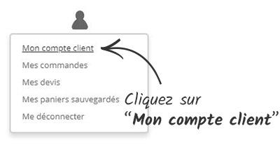 Cliquez sur 'Mon compte client'
