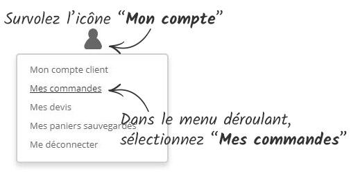 Survolez l'icône 'Mon compte', et dans le menu déroulant sélectionnez 'Mes commandes'
