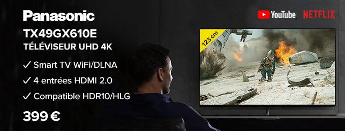 Votre TV UHD 4K de 123 cm à moins de 400 € ! : Panasonic TX49GX610E