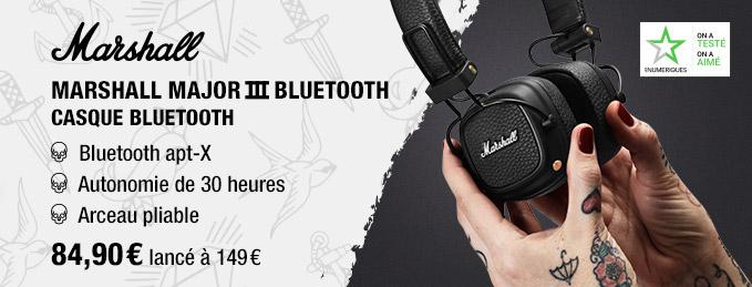 Marshall Major 3 Bluetooth : Casque Bluetooth Apt-X
