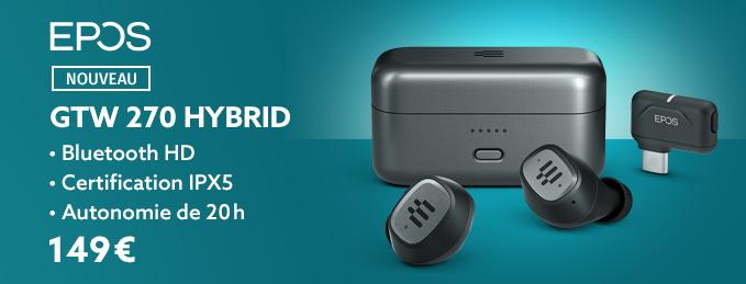 Epos GTW 270 Hybrid : Écouteurs True Wireless pour les jeux vidéo