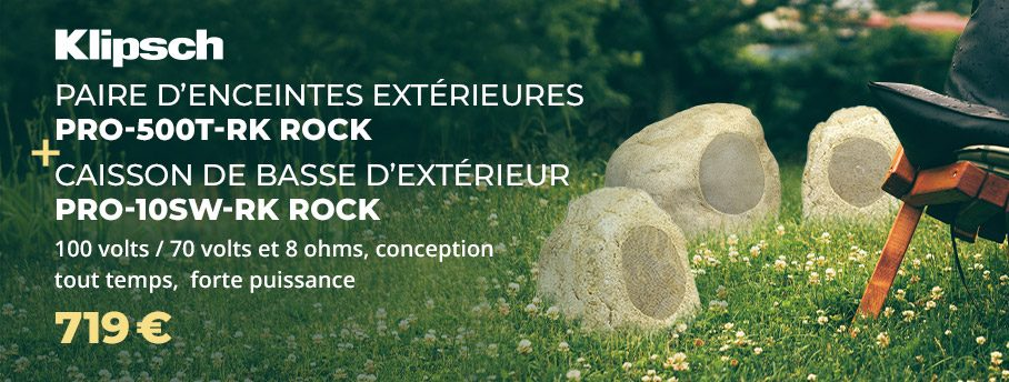 Klipsch Rock PRO-500T-RK + PRO-10SW-RK : Enceintes rochers + caisson de basses