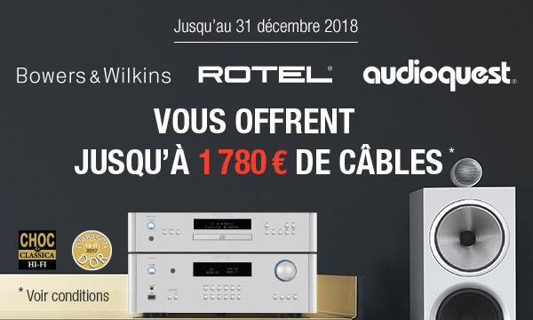 Jusqu'à 1790€ de câbles Audioquest offerts
