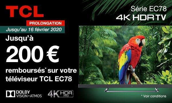 Offre de remboursement TV TCL EC78