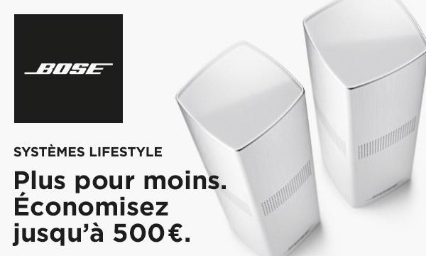 Bose vous rembourse jusqu'à 500 € sur l'achat d'une chaîne Bose Lifestyle pour la reprise de votre ancien système audio.